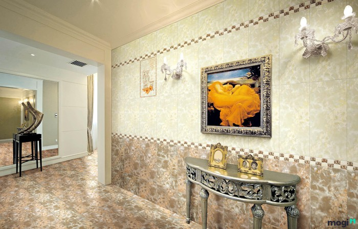 Cách phối hợp gạch ốp tường màu vàng hiệu quả
