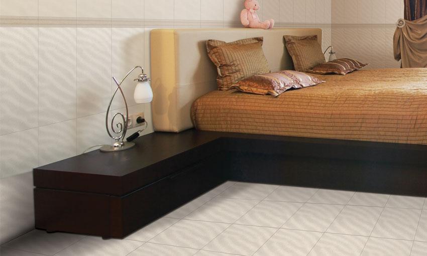 Gạch lát nền phòng ngủ kích thước nhỏ.