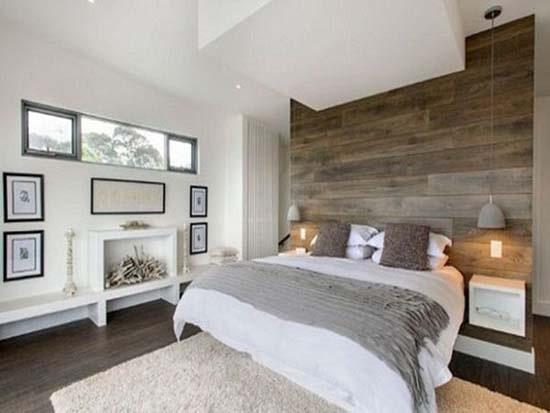 Phòng ngủ tạo cảm giác dễ chịu, thư thái với gạch ốp tường vân gỗ đẹp, màu sắc dịu nhẹ