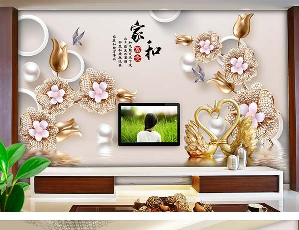 Mẫu gạch ốp tường tranh phòng khách