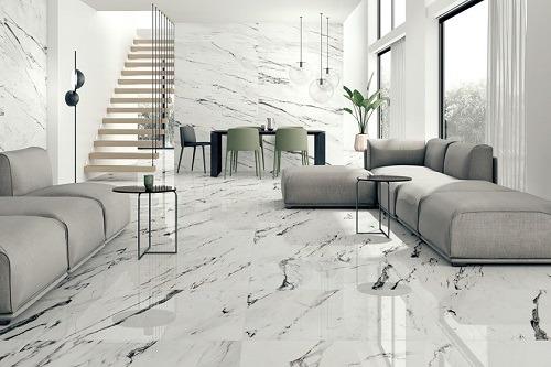 Mẫu gạch lát nền phòng khách 80x80 đẹp cho gia chủ mệnh Thủy
