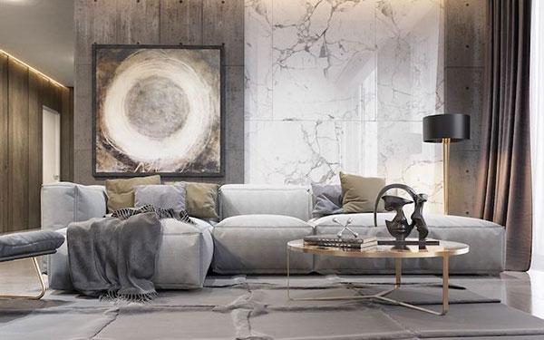 Mẫu gạch ốp tường phòng khách đẹp 2020 màu trắng vân đá đẹp