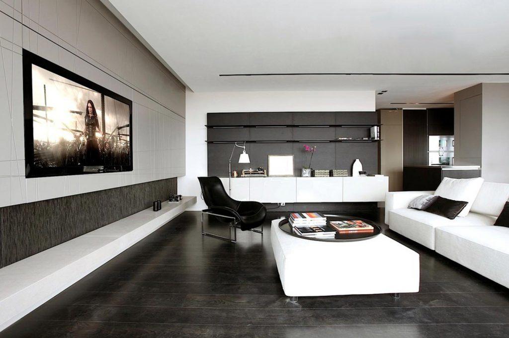 Phối gạch lát nền và ốp tường phòng khách nghịch tông