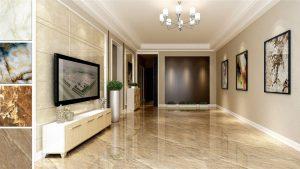 Phối màu gạch lát nền và ốp tường phòng khách theo phong cách tự nhiên