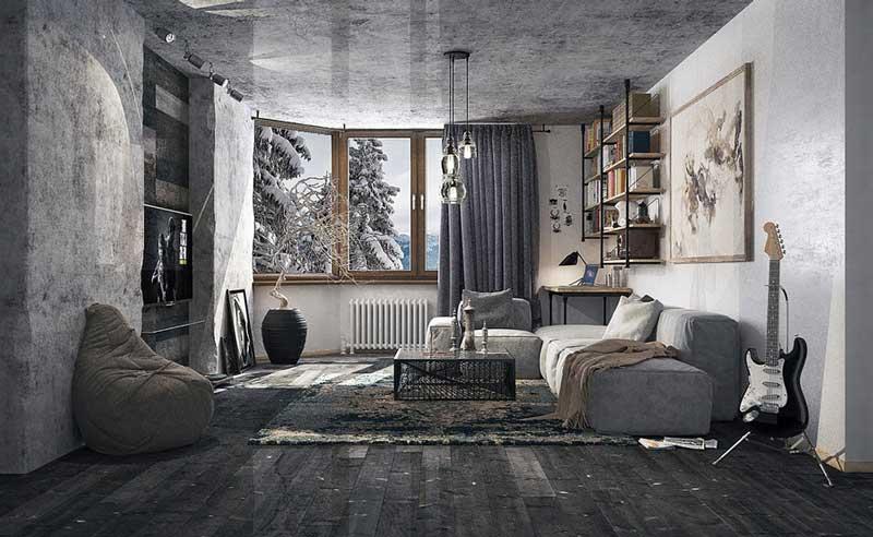 Phối màu gạch lát nền và ốp tường phòng khách theo phong cách cổ điển