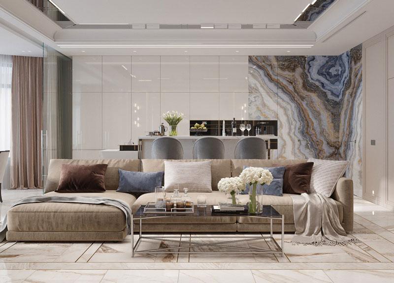 TOP 4 Ý tưởng phối gạch lát nền và ốp tường trang trí phòng khách đẹp độc đáo