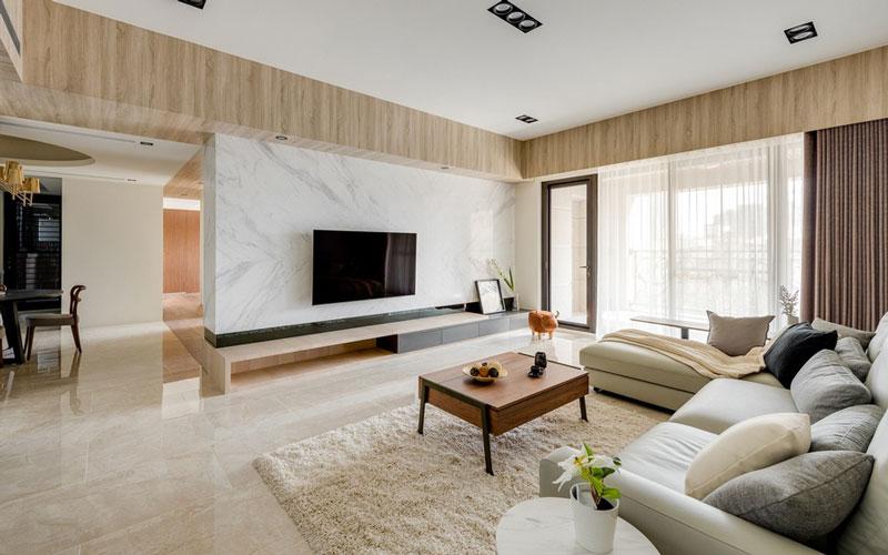 Phối gạch lát nền và ốp tường phòng khách cùng tông