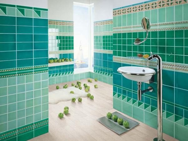 Gạch ốp tường màu xanh cho nhà tắm tươi mát