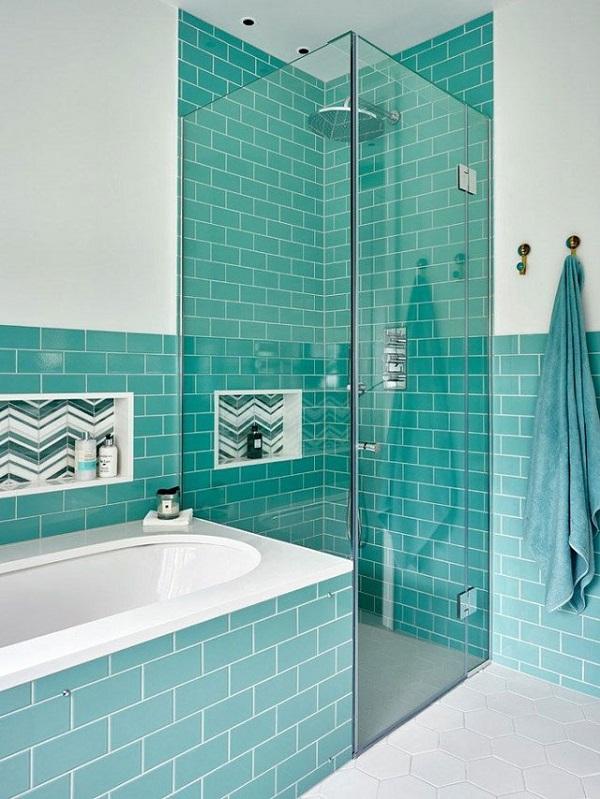 Gạch ốp tường màu xanh cho nhà tắm