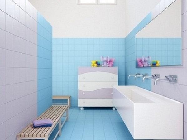 Gạch ốp tường màu xanh cho nhà tắm tối giản