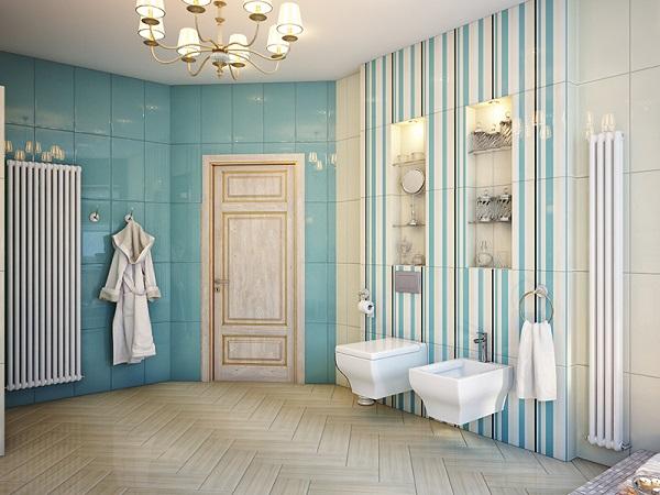 Những mẫu gạch ốp tường màu xanh trang trí không gian nhà tắm