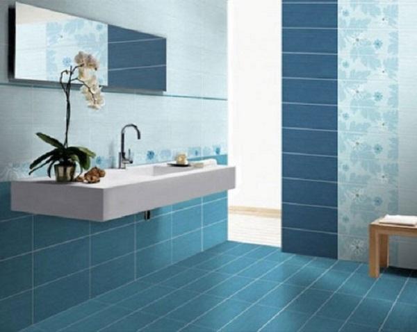 Gạch ốp tường màu xanh cho nhà tắm hiện đại